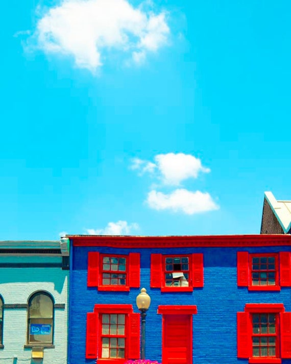 Architectural photography, blue wall art, 8x10 photograph,  peacock blue sky, white clouds, ruby red, royal purple, Home Decor