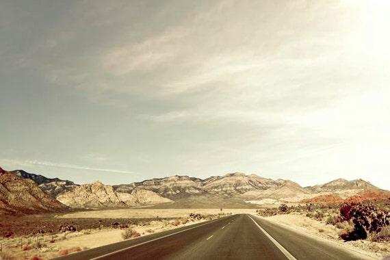 Travel Photography, Southwest, Mountain, Desert, Mint, Brown, Rustic Wall Decor, Desert Road, Large Wall Art