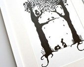 Animal Hearts / Large Silhouette Wall Art Forest Print