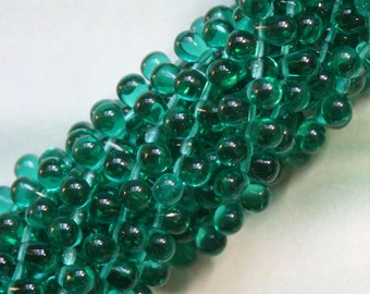 4x6 Czech Glass Teardrop Beads - Jewelry Making Supply - Craft Supplies - Teal Green Tear Drop Beads (100 bead strand)