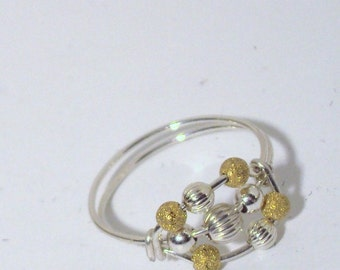 Etsy jewelry, 14kt gold filled argentium sterling silver worry ring, any size, including half and quarter