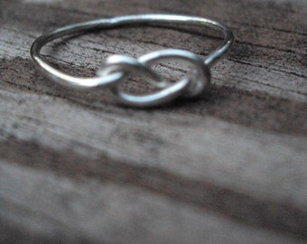 2 sterling silver infinity knot, celtic knot, ring, jewelry, handcrafted, artisan, argentium, wedding, engagement