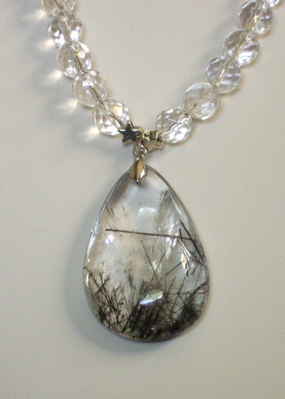 SALE: Quartz Rutilated Crystal pendant necklace