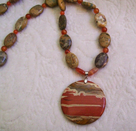 Natural stone Picture Jasper Pendent Carnelian hand made Necklace