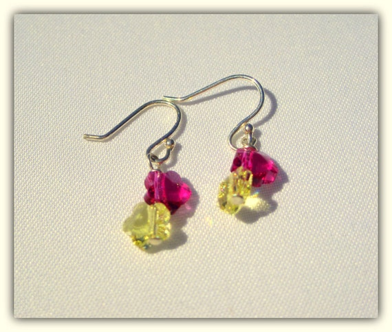 Double Swarovski Crystal Flower On Sterling Silver Girls Earrings
