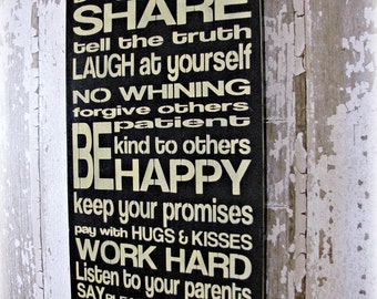 Wall Decor- Family Rules Typography Sign-Distressed Wood Sign--Black