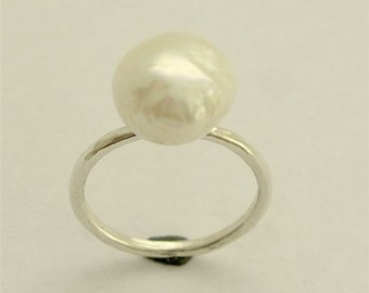 single white pearl ring, Simple ring, skinny ring, stacking ring, Sterling Silver Ring, engagement ring, white pearl ring -Young love R1533