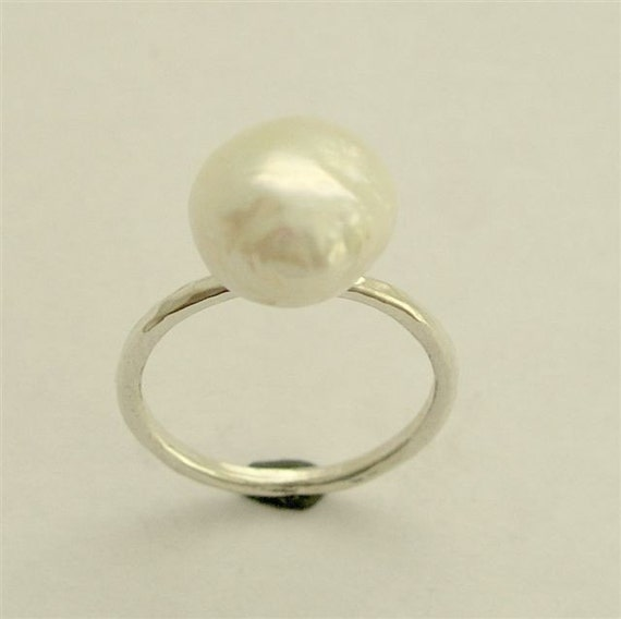 single white pearl ring simple ring ring stacking