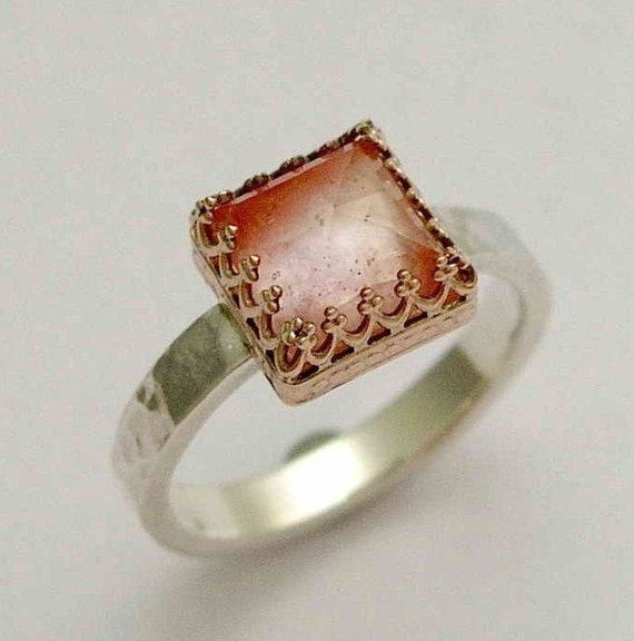 Silver engagement ring with rose gold and rose cut cherry quartz Rose kingdom
