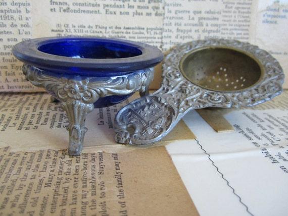 Antique Victorian Tea Strainer with Colbalt Blue Glass Silverplate Ornate Design