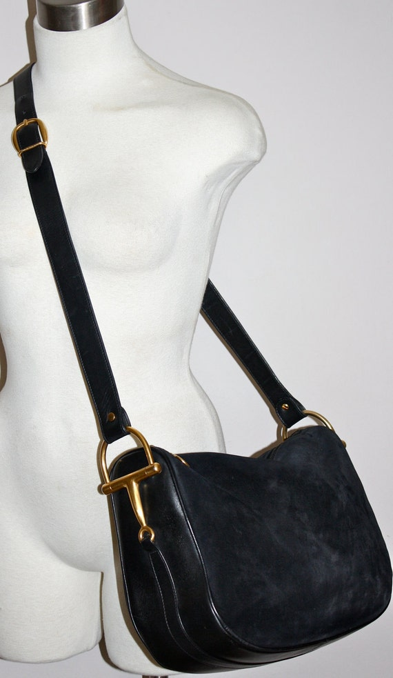 VINTAGE GUCCI HOBO Authentic Black Suede Leather Large Horsebit Tote
