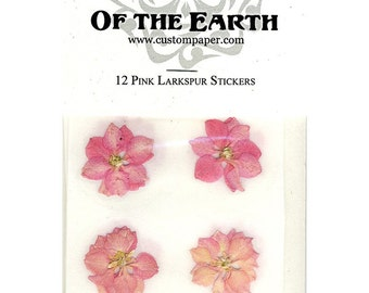 "Pink Larkspur 1.5"" Real Pressed Flower Decorating Stickers - pack of 12 - Not Dyed"