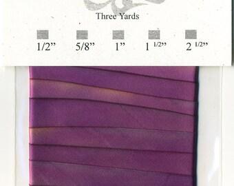 "Hand Dyed Silk Ribbon 15mm 5/8"" Purple Blend 037 - 3 yards Bias Cut"