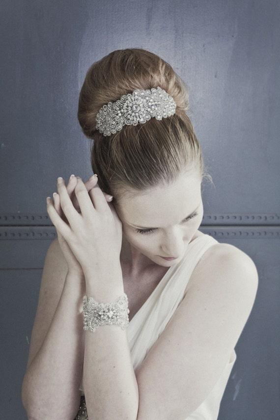 Bijoux large rhinestone diamanté bridal wedding headband with vintage brooch jewellery centrepiece
