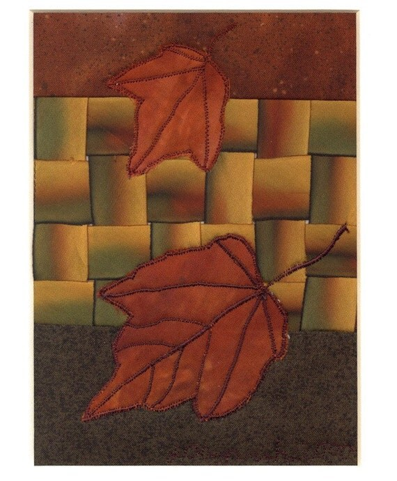 Red Maple Leaves Autumn Appliqué Mini Quilt Art Woven Ombre Silk Ribbon Optional Frame