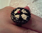 Gothic Cream Pie Ring with Cherry FREE SHIPPING in the US and Canada