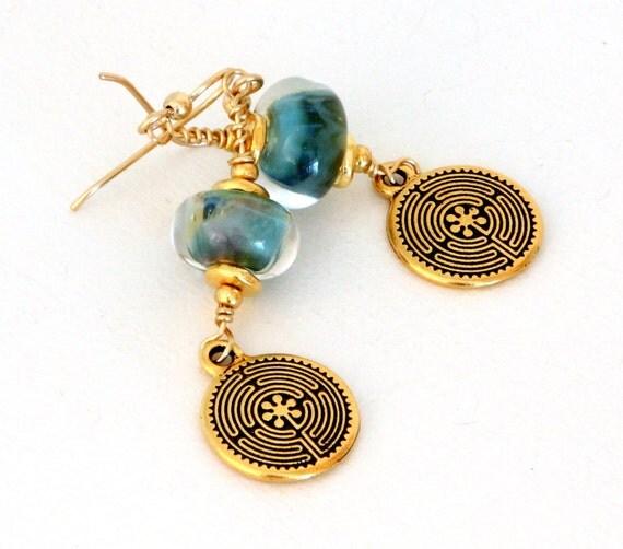 Soft Blue Dangle Earrings. Ocean Blue Glass Bead Earrings. Gold Labyrinth Earrings. Gifts for Mom.