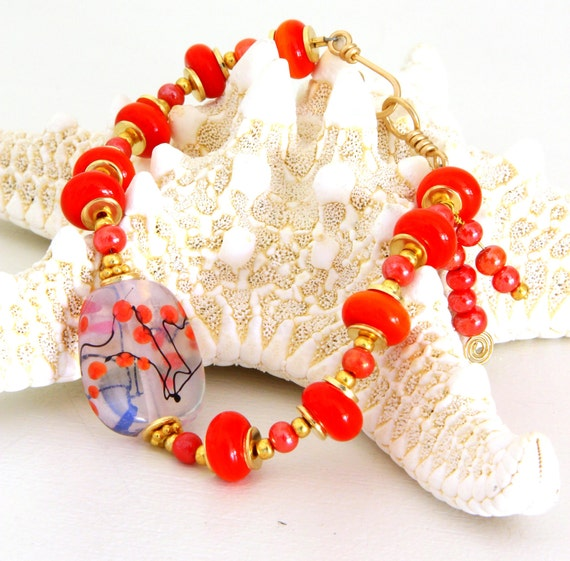 Red Asian Lampwork Bead Bracelet. Red Glass Focal Bead. Lampwork Bead Bracelets. Glass Beaded Jewelry. Gifts for Mom.