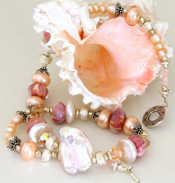 Mauve Pink Pearl Necklace. Large Baroque Freshwater Pearl Pendant. Lampwork and Sterling Silver Necklace. Glass Bead Jewelry.