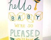 Hello Baby screen printed card