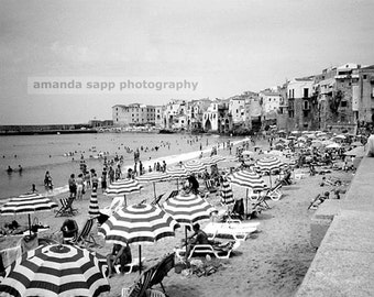 beach sicily Italy black and white photograph