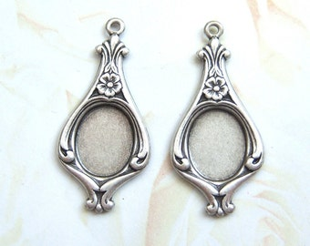 4 - Antiqued silver plated earring pendant settings for a 10x8mm cab,- ND170