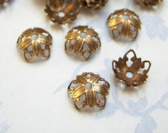 Antiqued brass filigree bead caps, lot of (12) - BD175