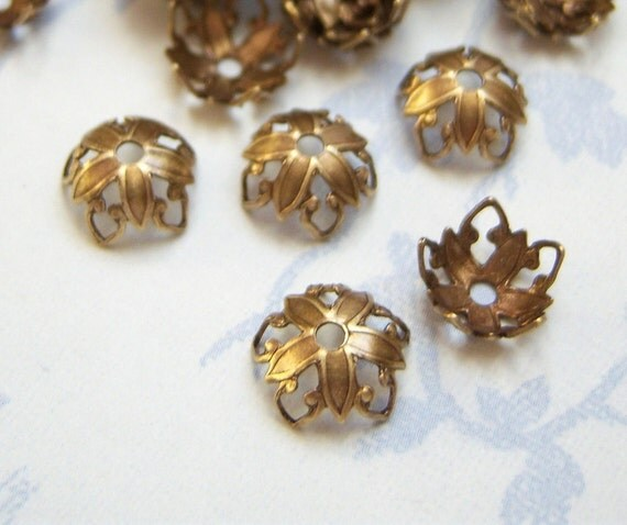 Antiqued brass filigree bead caps, lot of (12) - BD180