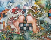 Painting on silk - silk paint - zodiac sign - Twins - love - couple