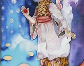 Nursery gift - christening gifts - Original Painting on silk Angel story