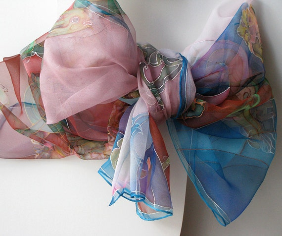 Silk scarf hand painted on chiffon in red shades with bluesilk morning bloom