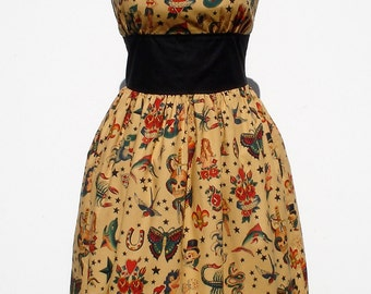 Tattoo Art Vintage Inspired Dress /  Rockabilly Pinup Dress