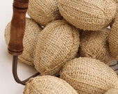 Burlap Eggs, One Dozen, In Natural Burlap, Bowl or Basket Fillers, Easter Decor, Country French, Kitchen, Country, Farm