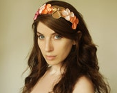 SALE Floral Fascinator in Golden Peach, flower hair accessory in golden rose colors,headband for her