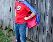 Reversible Superhero Cape Adult Halloween costume Blue and Red Adult Size