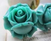 Flower Plugs Gauges LARGE Teal Roses