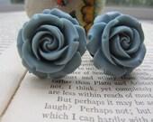 Large Bridal Plugs, Prom Plugs, Flower Plugs, Slate BlueGray Roses