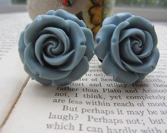 Large Bridal Plugs, Prom Plugs, Flower Plugs, Slate BlueGray Roses