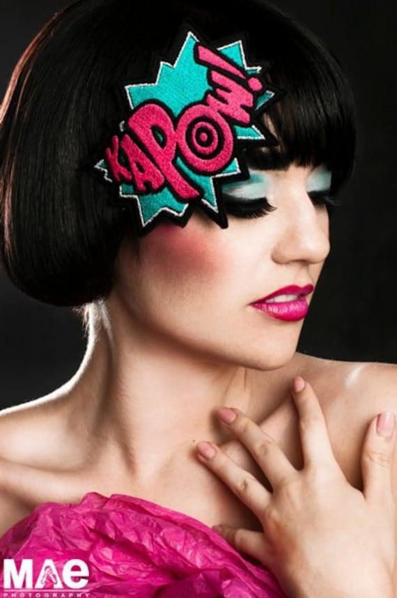 KAPOW Headband, Cartoon Style, Turquoise & Hot Pink