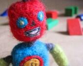 Needle Felted BoriBot Retro Robot Boy - Tiko (L004RT) - Original design by Borbala Arvai, MADE TO ORDER