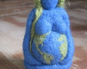 Mother Earth, Needle felted Gaia, Pregnant Mama, Maternity gift,  blue green 3 inch, Original design by Borbala Arvai, Made to order