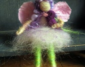 Fairy Friend with purple Bird, Needle felted doll, Fairy doll, waldorf toy, spring nature table, Design by Borbala Arvai, made to order