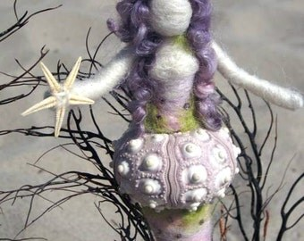 Needle Felted Mermaid, Sea Urchin Mermaid, Goddess, Original design by Borbala Arvai, MADE TO ORDER