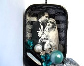 Wedding Ornament, Altered Art Collage, Shadow Box Tin, Valentines 2012 Ornament
