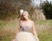 Champagne and ivory tulle skirt with  satin waist for women. Unlined ballerina skirt