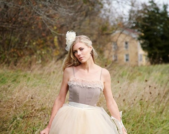 Champagne and ivory tulle skirt with  satin waist for women. Unlined ballerina skirt