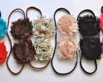 3 skinny headbands for women or girls. Womens or girls headbands Stretch headband shabby chic blossoms Choose your colors for 3 skinny bands