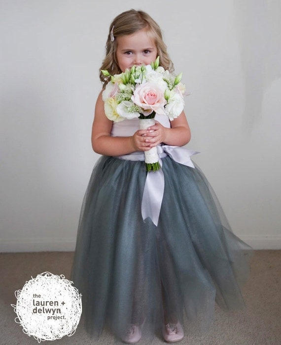 Grey Flower Girl tutu for winter and fall weddings-- sewn and long.