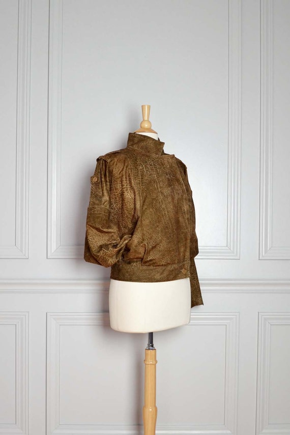 SALE Jacket Bomber / Faux Leather Suede / Vegan / Lightweight / Aviation Steampunk Bat Wing Coat / Vintage / Medium M Large L