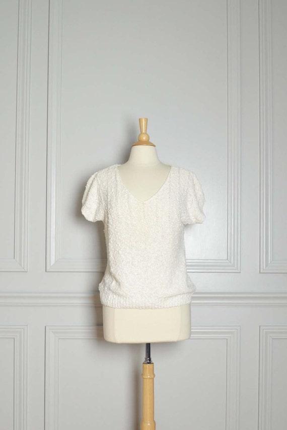 SWEATER SALE / V Neck Slouchy / White / Loose Knit Popcorn Ramie Linen / Short Sleeve / 80s Vintage / Medium M
